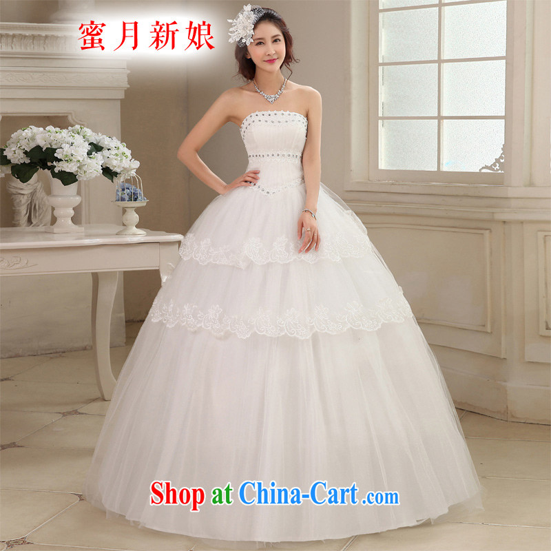 Honeymoon bridal wedding dresses 2015 new Korean lace inserts drill wiped chest wedding with Princess tie wedding white XL