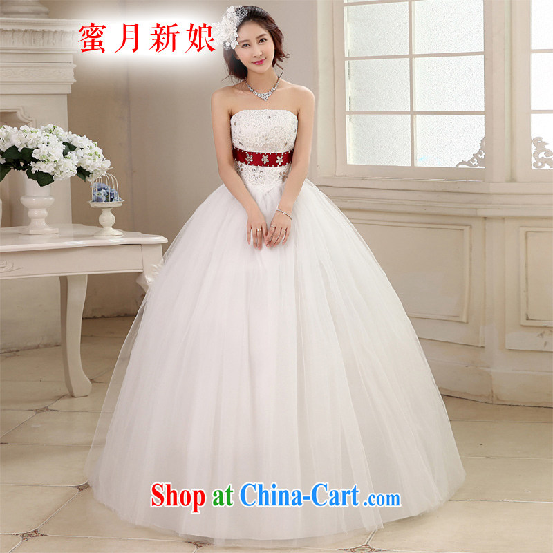 Honeymoon bridal wedding dresses 2015 new Korean sweet Princess single shoulder strap with flowers with wedding shaggy strap wedding white XXL