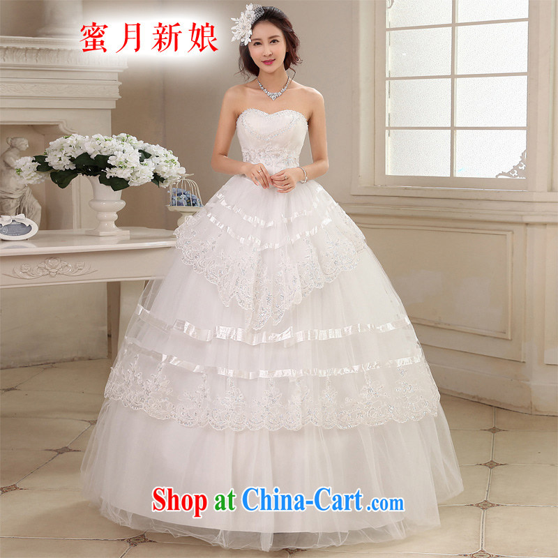 Honeymoon bridal wedding dresses 2015 new water drilling erase chest wedding with straps Princess wedding white XL