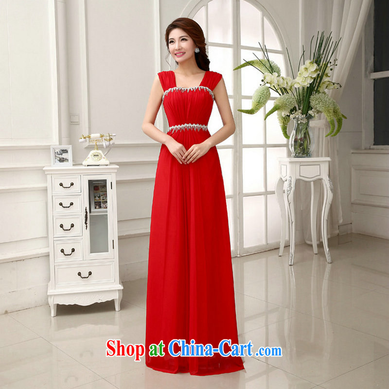 Optimize video 2014 new wedding dresses marriages long serving toast bridesmaid shoulders graphics thin dress female XS 892 red XXL