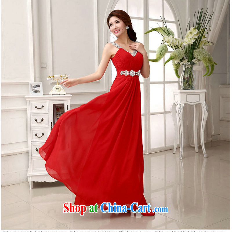 Optimize Hung-red Korean lace Princess bride wedding dress the wedding toast wedding service wedding XS 781 red XXL