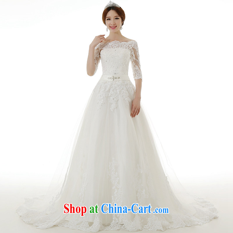 Dirty comics 2015 spring and summer New Field shoulder collar long-sleeved large tail wedding dresses Korean Beauty Princess bridal straps lace-tail wedding dresses and tail, XXL