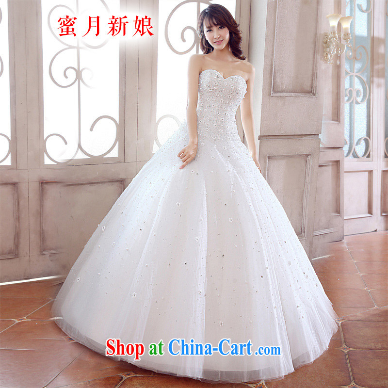 Honeymoon bridal 2015 new wedding dresses to manually erase chest wedding sweet flowers Princess wedding white M