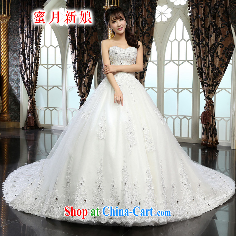 Honeymoon bridal wedding dresses 2015 new dream lace tail wedding Princess wedding white XL