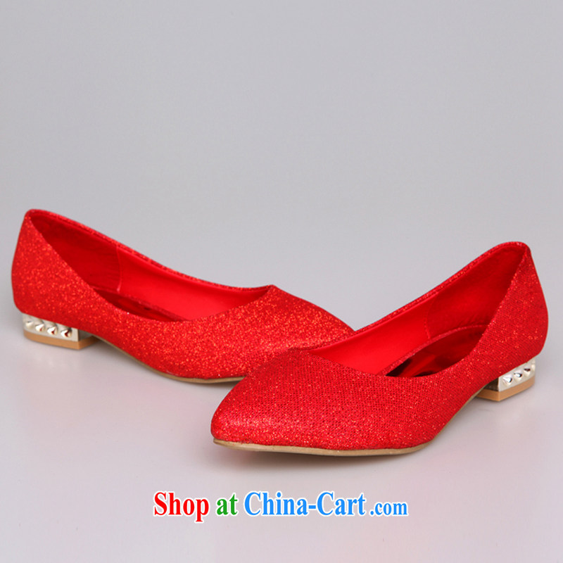 Rain is still Yi marriages wedding ceremony bridal shoes gold bridesmaid shoes flat shoe good pregnant women wearing red wedding shoes XZ 054 red 40