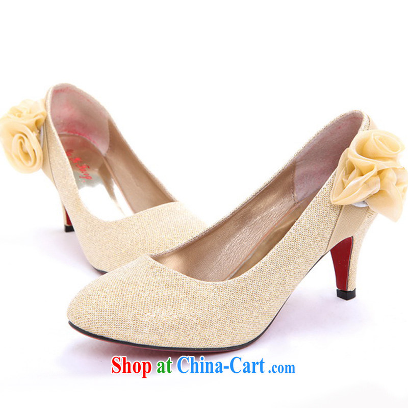 Rain Coat yet marriage wedding dresses bridal wedding dress shoes wedding shoes bridesmaid wedding shoes dance shoes red wedding shoes XZ 103 gold 35