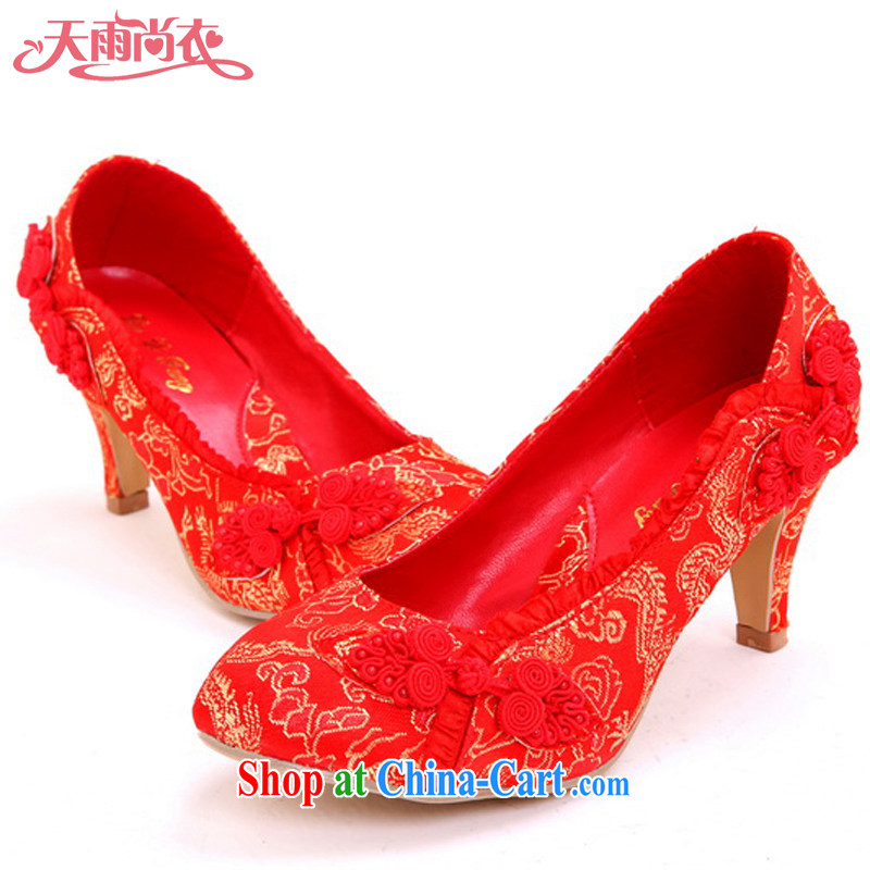 Rain is still Yi marriages wedding jewelry wedding dresses shoes women shoes beautiful bridal shoes bridal shoes wedding shoes dresses shoes XZ 105 red 39