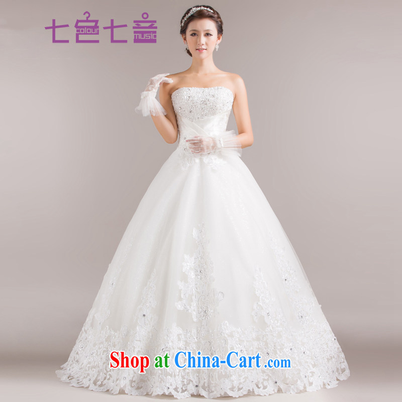 7 color 7 tone Korean version 2015 new stylish marriages Mary Magdalene chest strap with wood drill large white, wedding dresses H 006 white tailored (final)