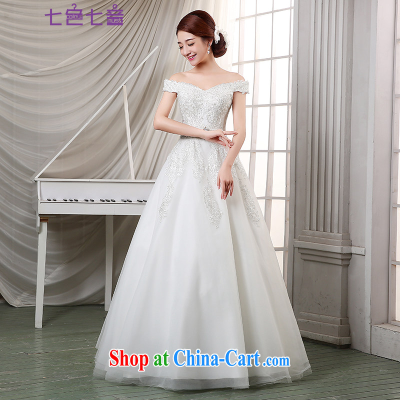7 color 7 tone Korean version 2015 New with sweet Princess larger wedding a field shoulder foreign trade wedding H 001 white tailored
