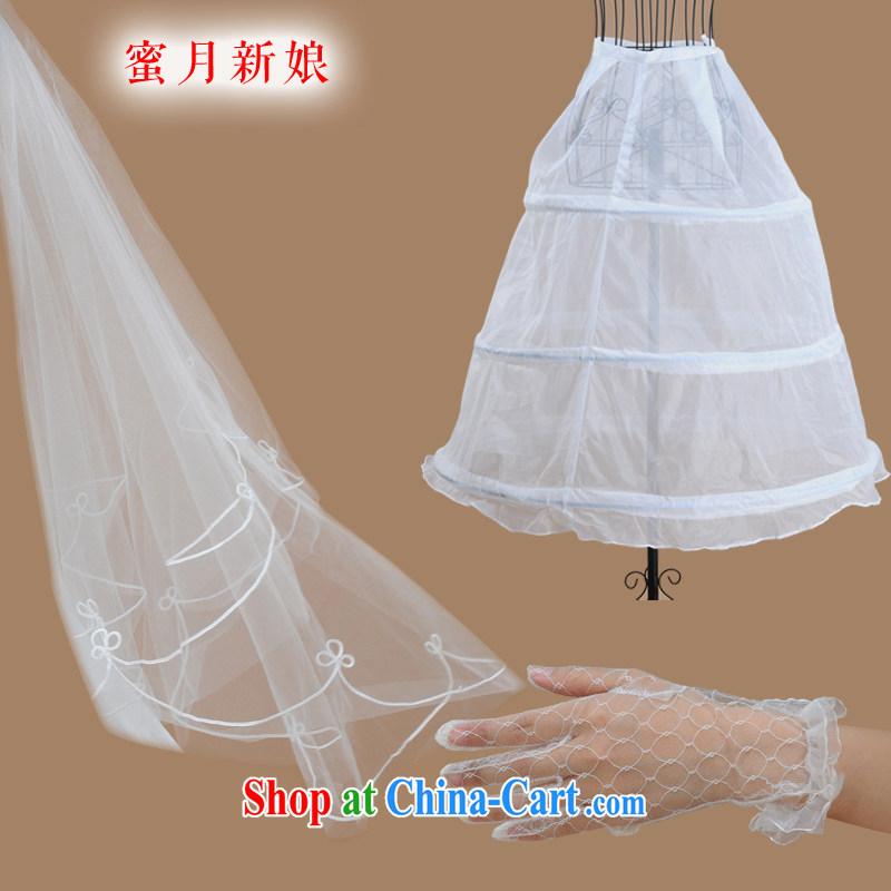 Honeymoon bridal wedding wedding accessories gloves and dress party wedding 3-Piece white