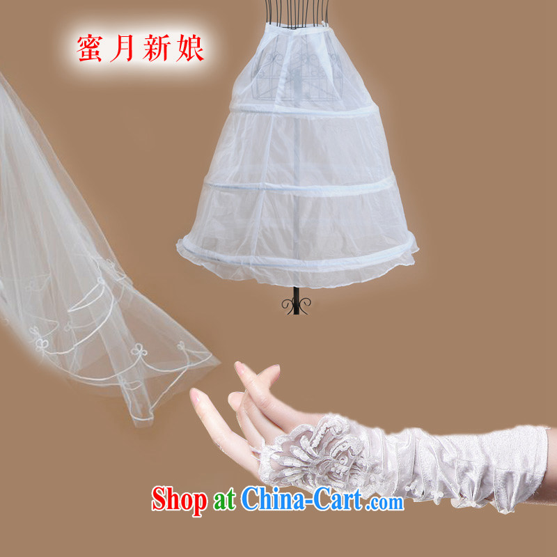 Honeymoon bridal wedding wedding accessories gloves and dress party wedding 3-Piece white