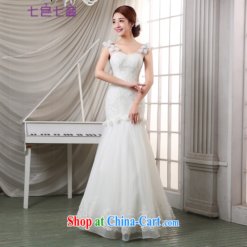 7 color 7 tone Korean version 205 new dual-shoulder with strap graphics thin lace retro crowsfoot wedding H 003 white M