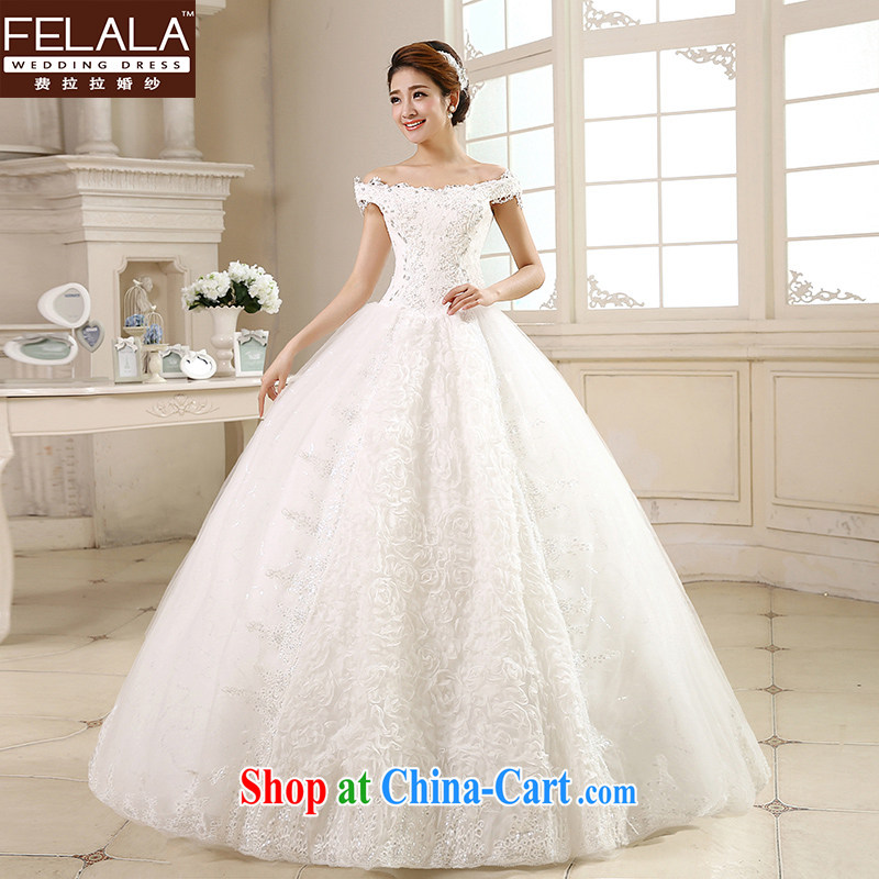 Ferrara ♀ 2015 new wedding dresses one shoulder wedding Korean-style water drilling pregnant larger wedding dresses Home XL _2 feet 2_