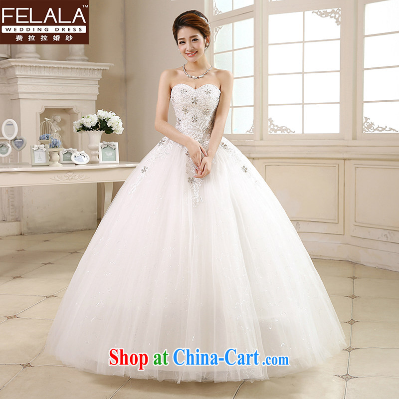 Ferrara �� wedding dresses new 2015 Korean wiped chest Deep V collar with Princess shaggy dress lace simple drill summer XL (2 feet 2)