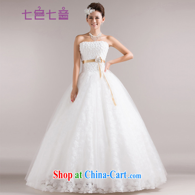 7 color 7 tone Korean 2015 new marriages white tie with bare chest sweet Princess lace graphics thin wedding dresses H 011 white tailored