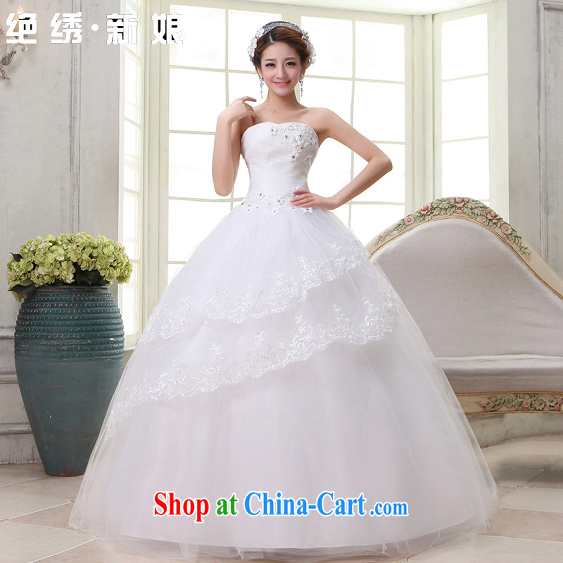 There is a bride Korean sweet Princess dress 2015 New with bare chest retro flouncing wedding white XXXL Suzhou shipping