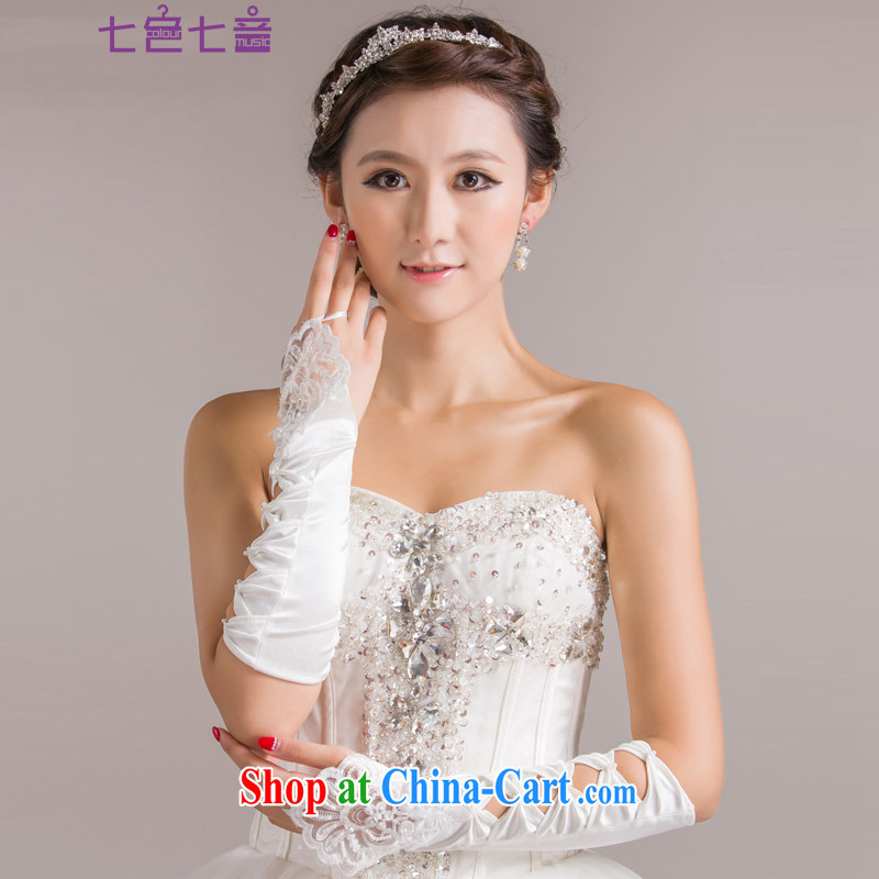 7 color 7 tone 4 party embroidered Satin no means biological empty gloves wedding dresses long gloves wedding accessories S 001 white are code