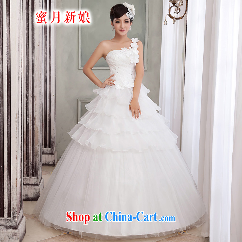 Honeymoon bridal wedding dresses 2015 Korean Beauty single shoulder wedding water drilling flowers tied with Princess wedding white L