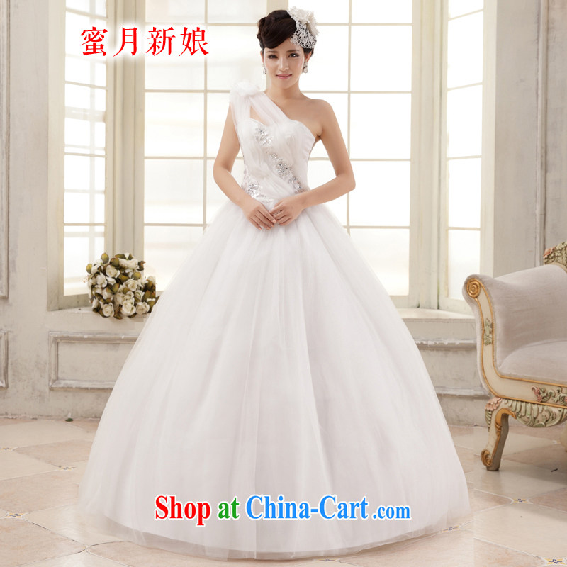 Honeymoon bridal wedding dresses 2015 Korean sweet Princess single shoulder flowers wedding with straps wedding white XXL