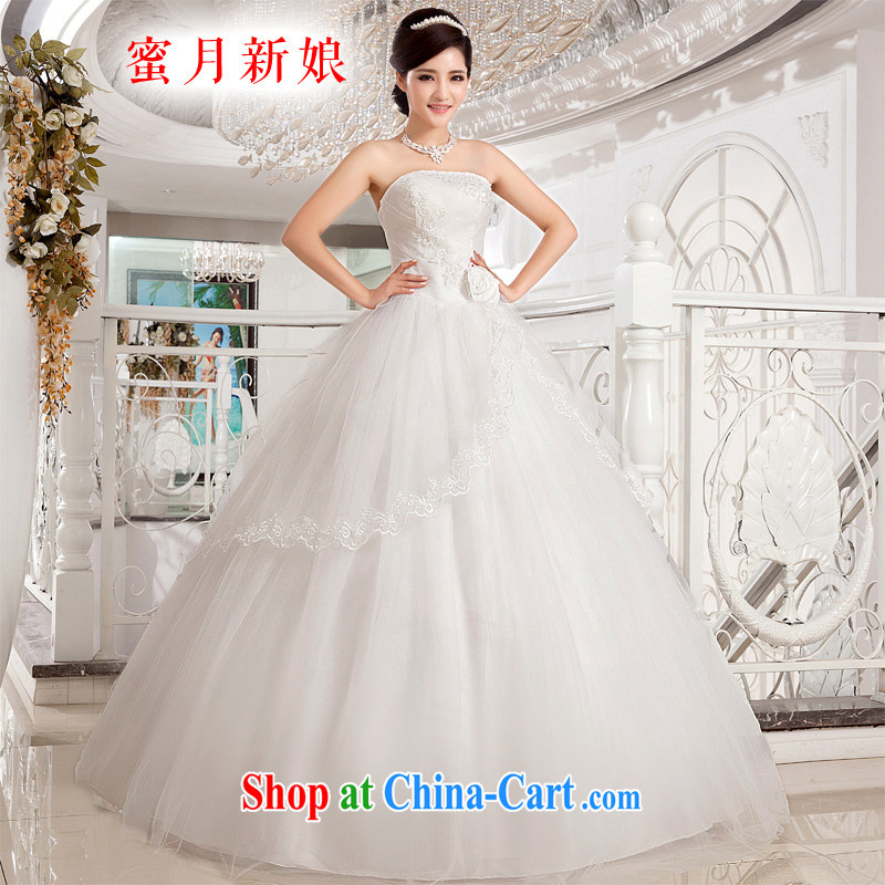 Honeymoon bridal wedding dresses 2015 new Korean fresh sweet Princess Mary Magdalene chest flowers with strap wedding white XXL