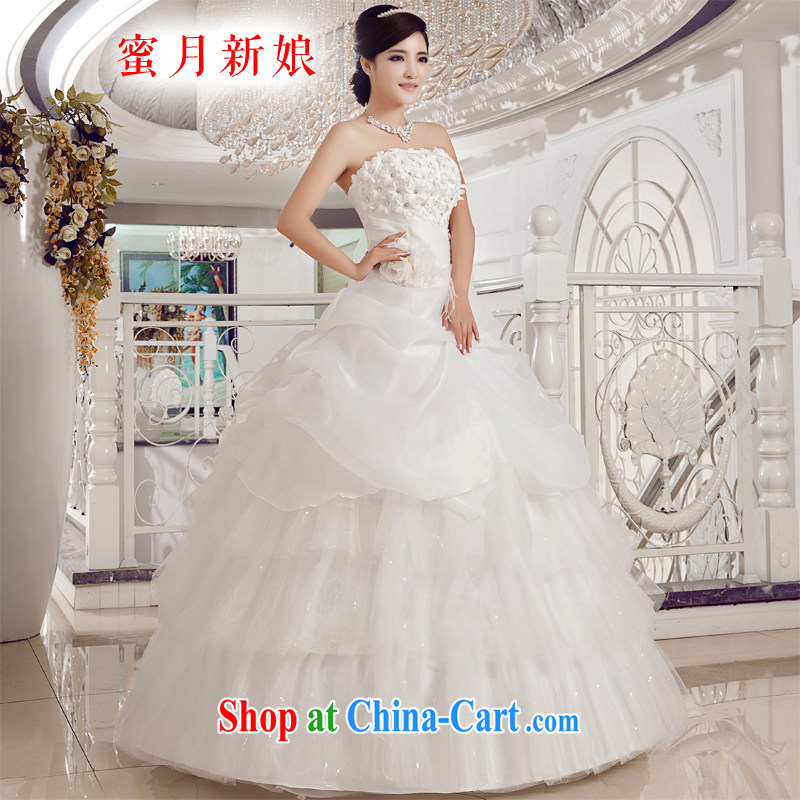 Honeymoon bridal wedding dresses 2015 new Korean wood drill flowers erase chest wedding band Princess shaggy wedding white XXL