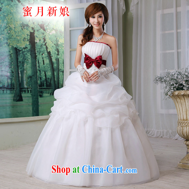 Honeymoon bridal wedding dresses butterfly knot bridal wedding new sweet Princess wedding wine red bow tie white XXL