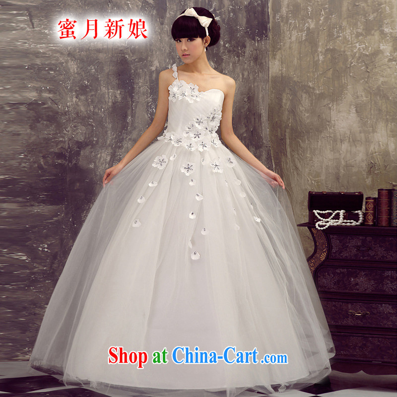 Honeymoon bride single shoulder wedding dresses the shoulder wedding bridal wedding dresses wedding dresses new 2015 sweet Princess wedding white XXL