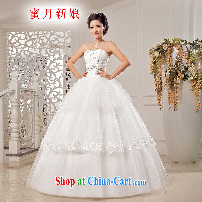 Honeymoon bridal wedding dresses 2015 new stylish Beauty Chest bare wedding Bow Tie Straps Princess wedding white XXL