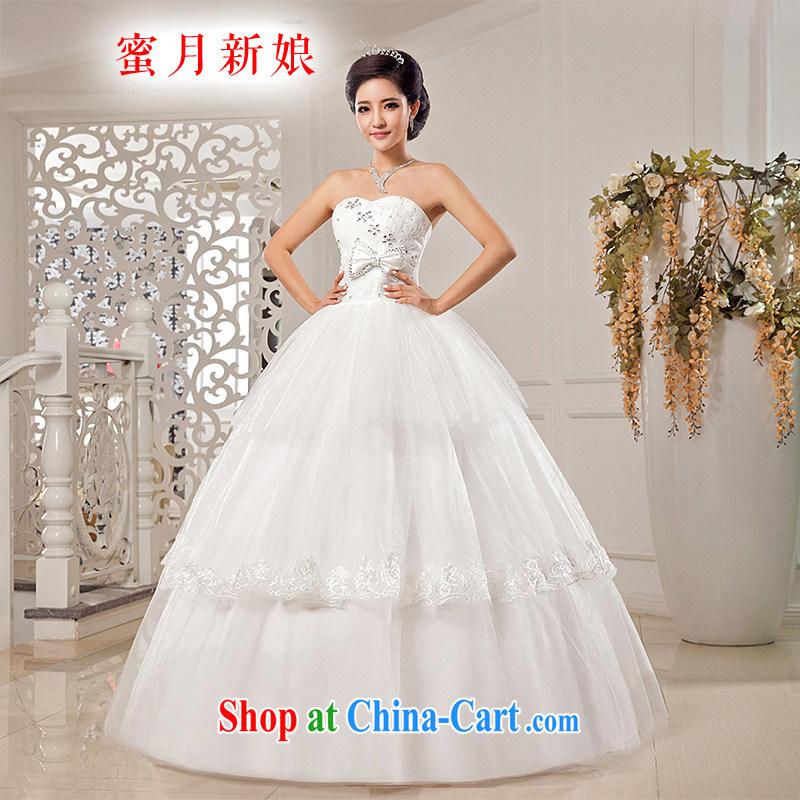 Honeymoon bridal wedding dresses 2015 new stylish Beauty Chest bare wedding Bow Tie Straps Princess wedding white XXL