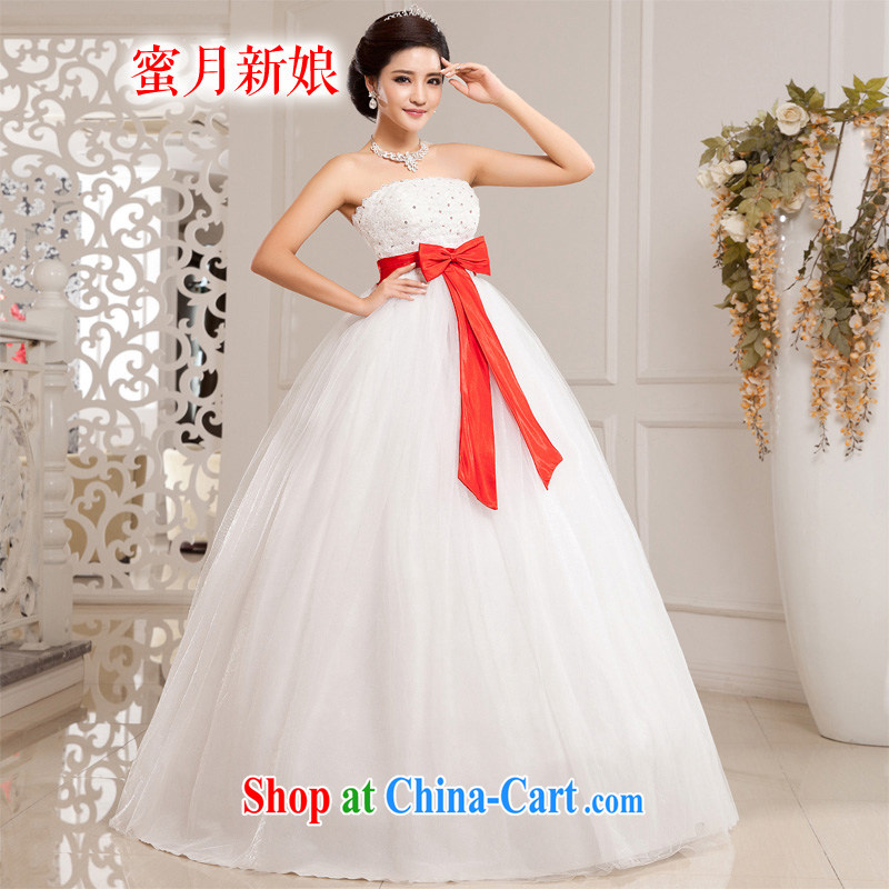 Honeymoon bridal wedding dresses 2015 new Korean bowtie high waist bare chest wedding Princess shaggy wedding white XXL