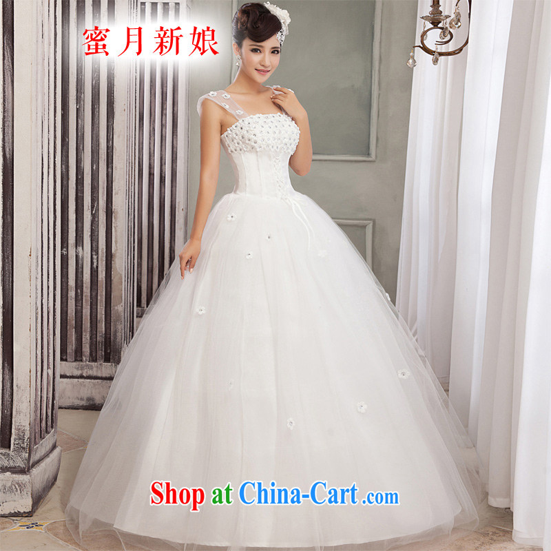 Honeymoon bridal wedding dresses 2015 new Korean shoulders flowers wedding band Princess shaggy wedding white XXL