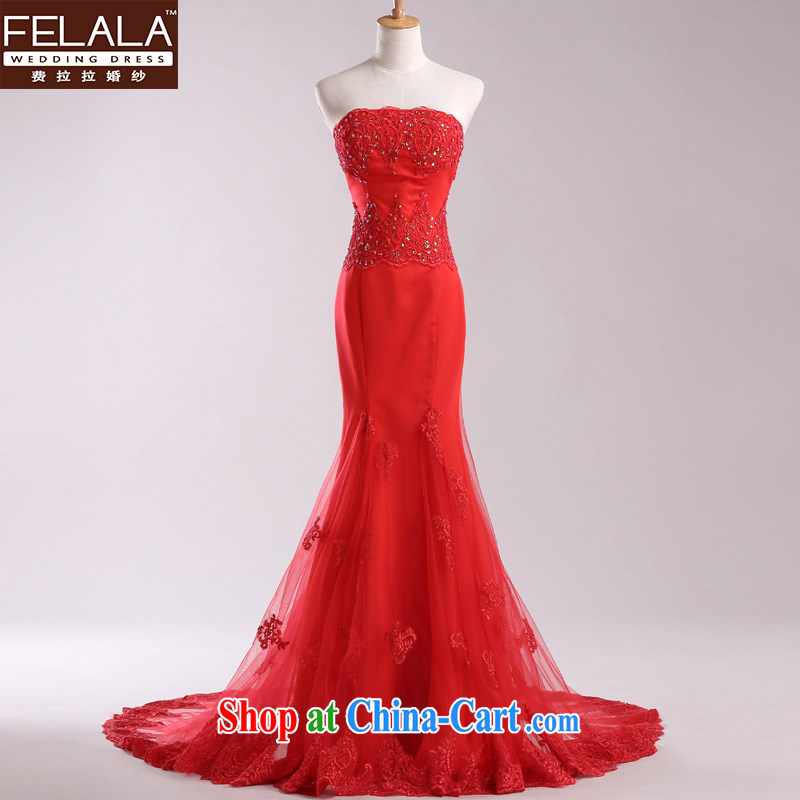 Ferrara red wiped his chest wedding dresses 2013 new luxury lace crowsfoot small tail dress autumn and winter red S (1 feet 9)