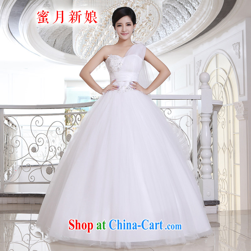 Honeymoon bridal wedding dresses 2015 new Korean Princess single shoulder ribbons wedding with straps shaggy wedding white XXL