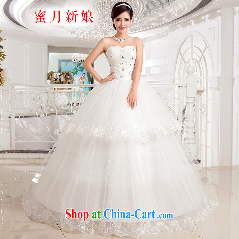 Honeymoon bridal wedding dresses 2015 new Korean style heart-shaped bare chest wedding with shaggy Princess wedding white XXL