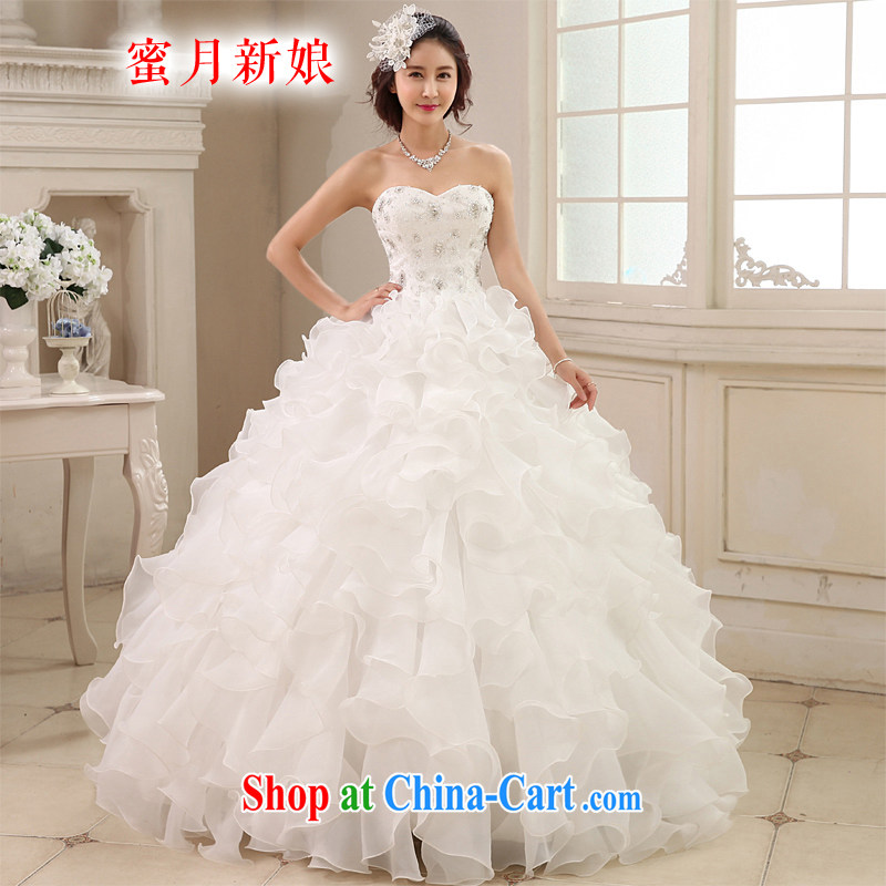 Honeymoon bridal 2015 new wedding dresses Korean version shaggy Princess Mary Magdalene chest wedding parquet drill with a strap white XL