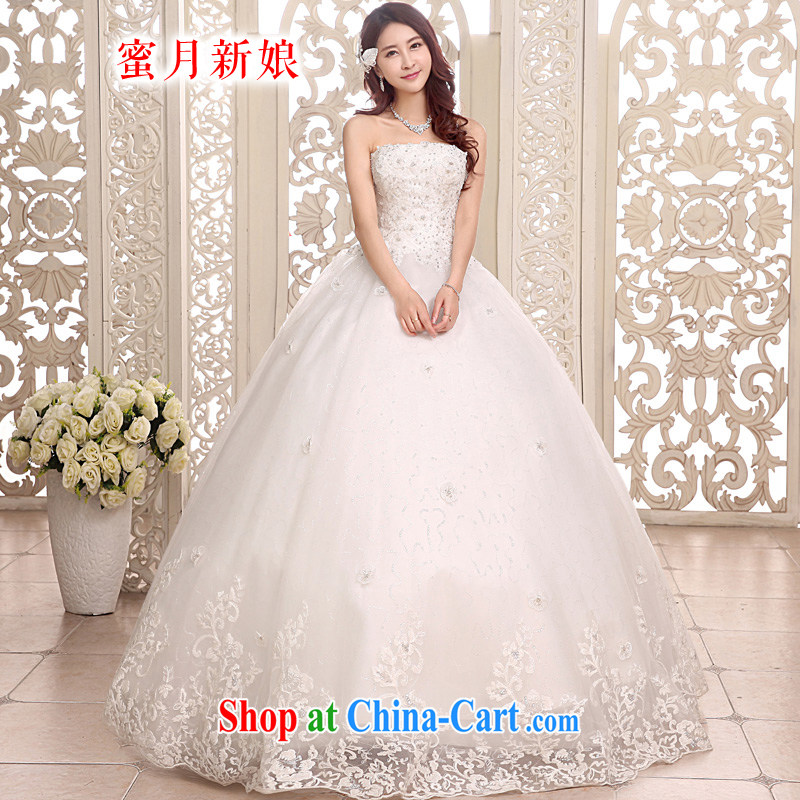 Honeymoon bridal bridal wedding dresses 2015 erase chest wedding with Princess flower tied with shaggy wedding white XL