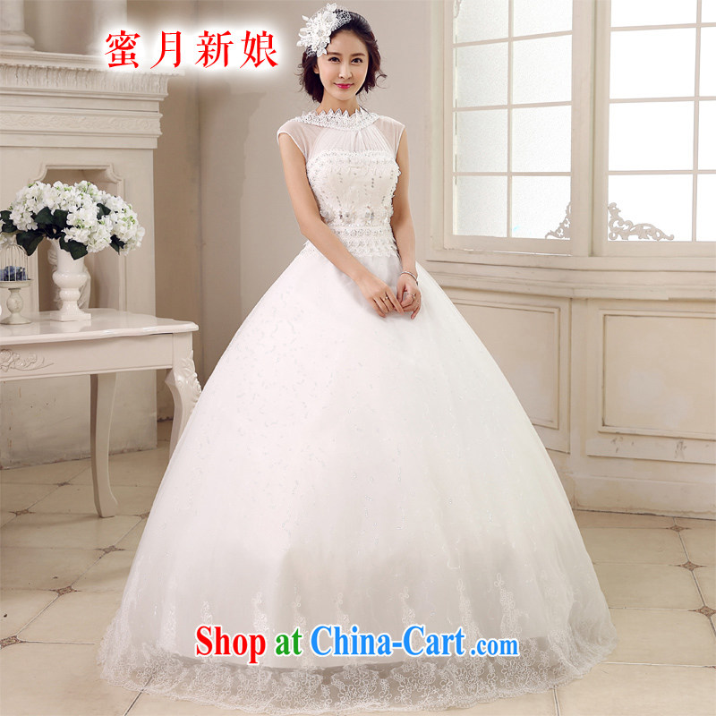 Honeymoon bridal 2015 new wedding dresses Korean princess is also wedding with tie-panelled drill wedding white XL