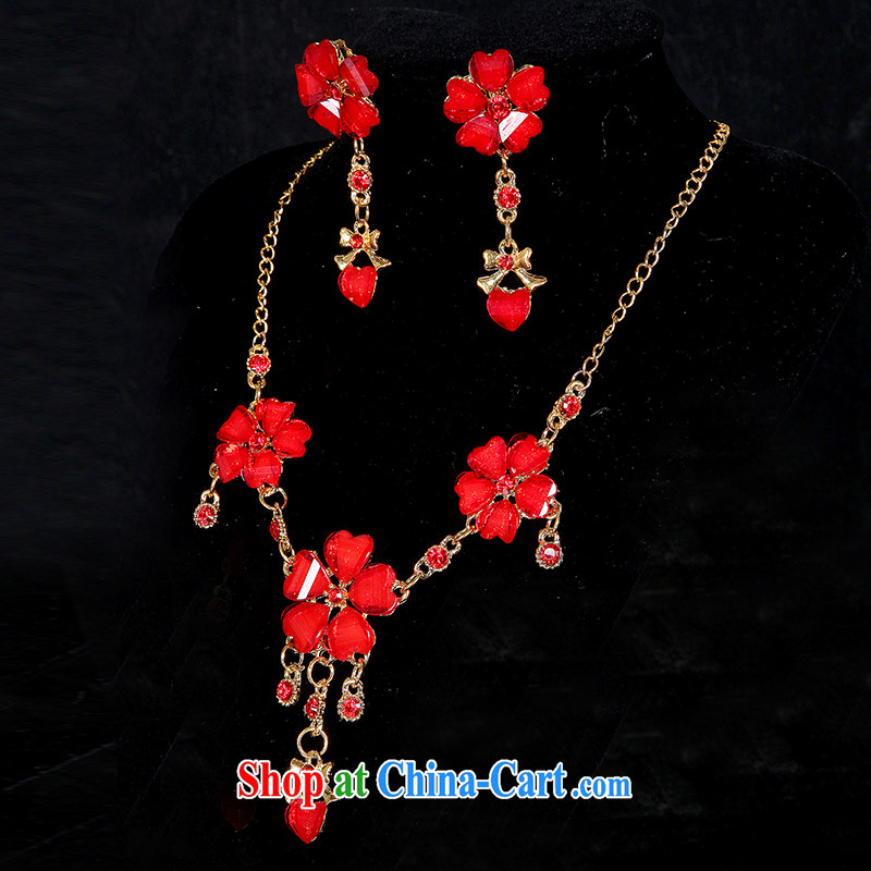 Qi wei bridal necklace earrings accessories kit red wedding dresses accessories China wind cheongsam dress uniform toast with Circumference 21 cm - 50 CM