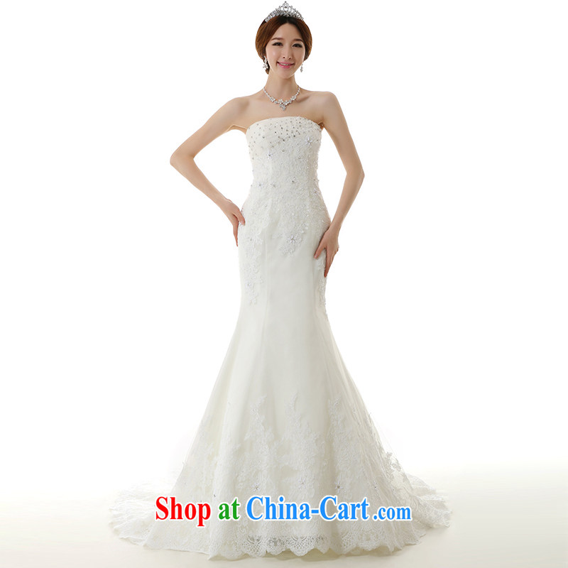 Dirty comics 2014 new bride crowsfoot the trailing white wedding dresses luxurious lace bare-chest pockets and Korean-style beauty crowsfoot tail wedding dresses white tailored
