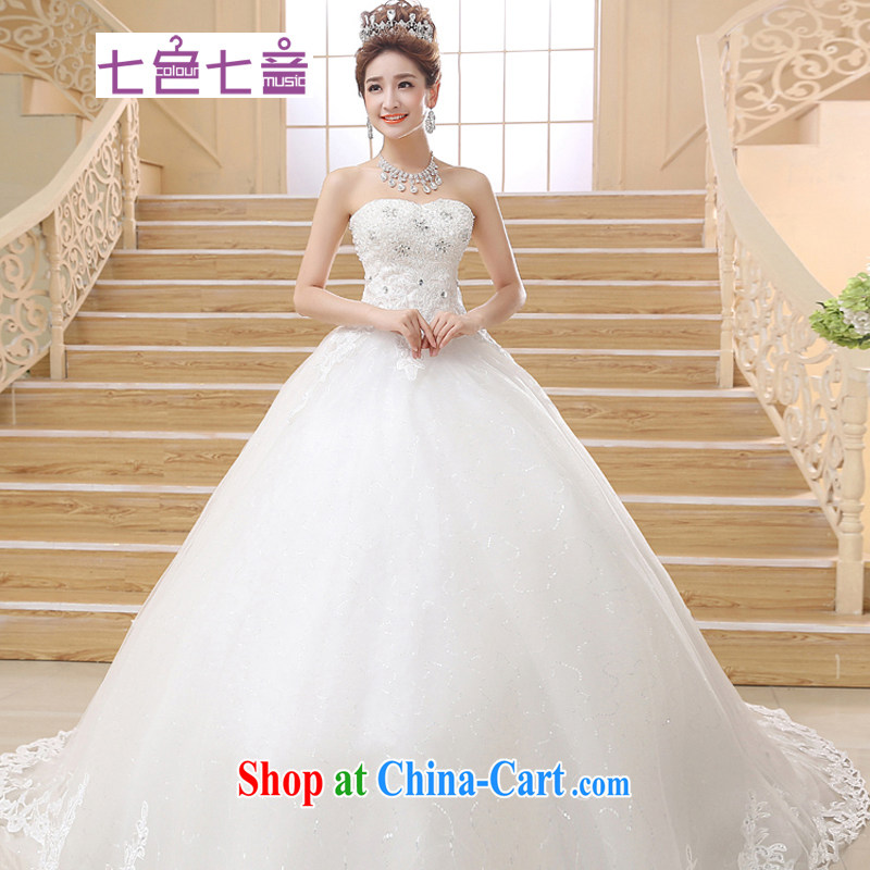 7 color 7 tone Korean version summer 2015 new Korean Modern minimalist wipe chest larger deluxe long-tail wedding dresses H 022 white L