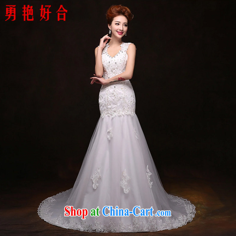 Yong-yan and flagship store Korean-style lace bridal wedding large code retro crowsfoot long-tail wedding dresses 2015 new summer white. size will not be returned.