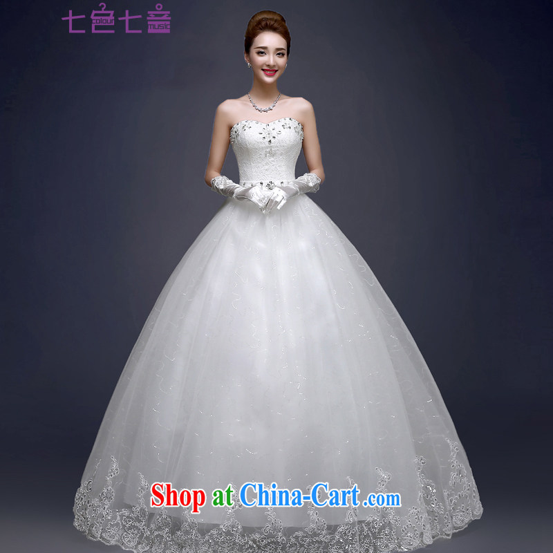 7 color 7 tone Korean version 2015 new erase chest strap with light drill elegant larger graphics thin shaggy dress wedding dresses H 025 white tailored (final)