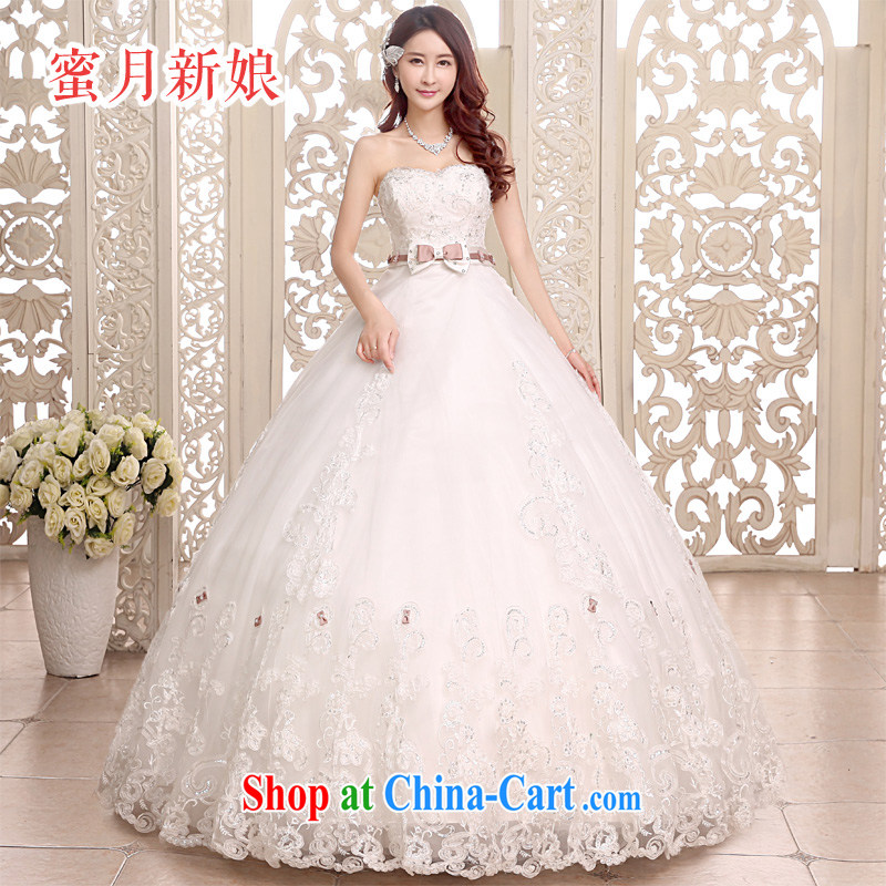 Honeymoon bridal 2015 new wedding dresses classic sexy Bow Tie bare chest wedding dresses with straps wedding white XL