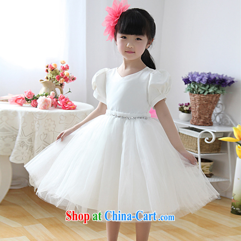 Moon 珪 guijin children dress dress Princess dress girls dress wedding dress flower girl dress children shaggy skirts dresses T 26 m White 12, scheduled 3 Days from Suzhou shipping