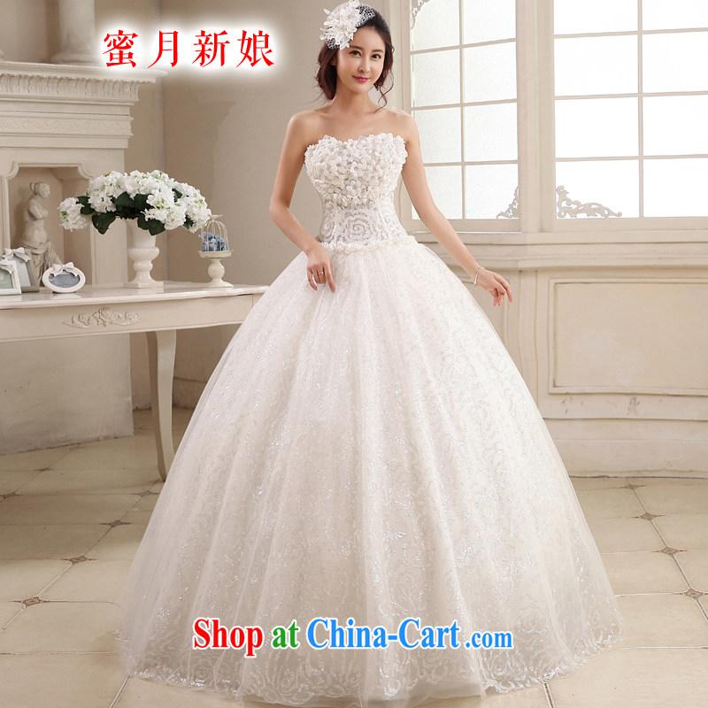 Honeymoon bridal 2015 new wedding Korean chest bare sweet flowers Princess wedding with shaggy tie wedding white XL