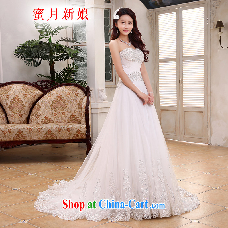 Honeymoon bridal 2015 new wedding dresses Korean version the waist crowsfoot wedding tail zipper wedding white XL