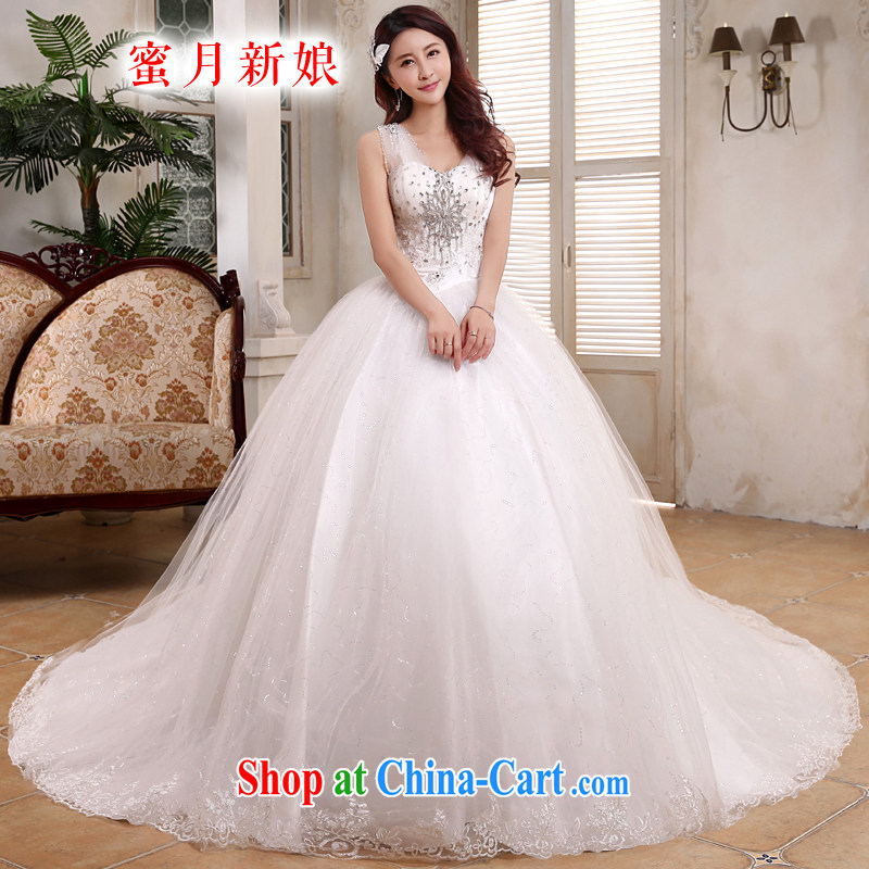 Honeymoon bridal 2015 new wedding dresses Korean shoulders Deep V for long-tail lights, wedding band wedding white XL