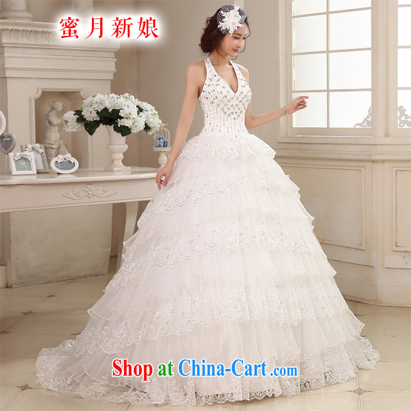 Honeymoon bridal 2015 new wedding dresses Korean wood drill is also wedding romantic tails wedding white XL