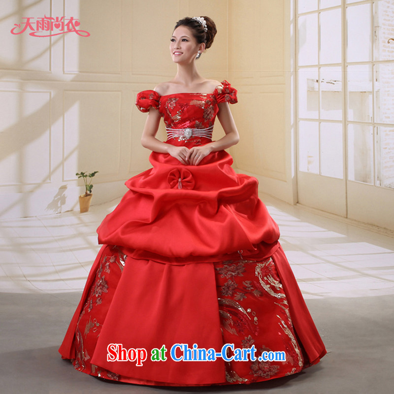 Rain Coat yet stylish bridal wedding dresses Fall Winter red home yarn moderator singers performances serving double-shoulder wedding HS 826 red XL