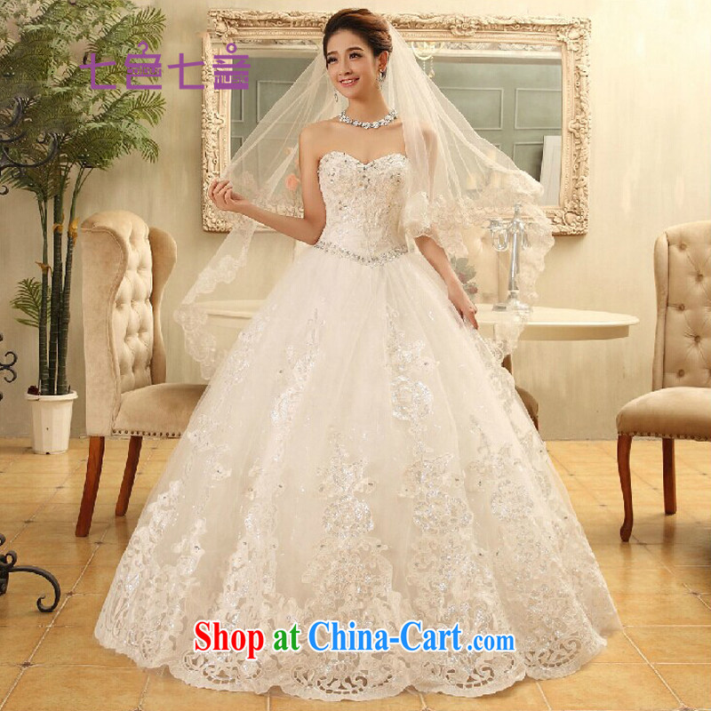 7 color 7 tone Korean version 2014 summer new bride white beauty with parquet drill wiped her chest wedding dresses H 029 white tailored